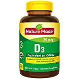 Nature Made Vitamin D3 25 mcg (1000 IU) Softgels 300 Ct Mega Size (Packaging may...