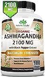 Organic Ashwagandha 2,100 mg - 100 Vegan Capsules Pure Organic Ashwagandha Root...