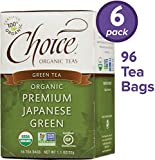 Choice Organic Teas Green Tea, 6 Boxes of 16 (96 Tea Bags), Premium Japanese Green