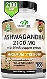 Organic Ashwagandha 2,100 mg - 100 Vegan Capsules Pure Organic Ashwagandha Powder and...